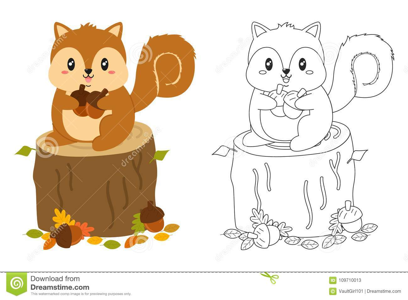Autumn Squirrel Coloring Page Vector Set Stock Vector - Illustration ...