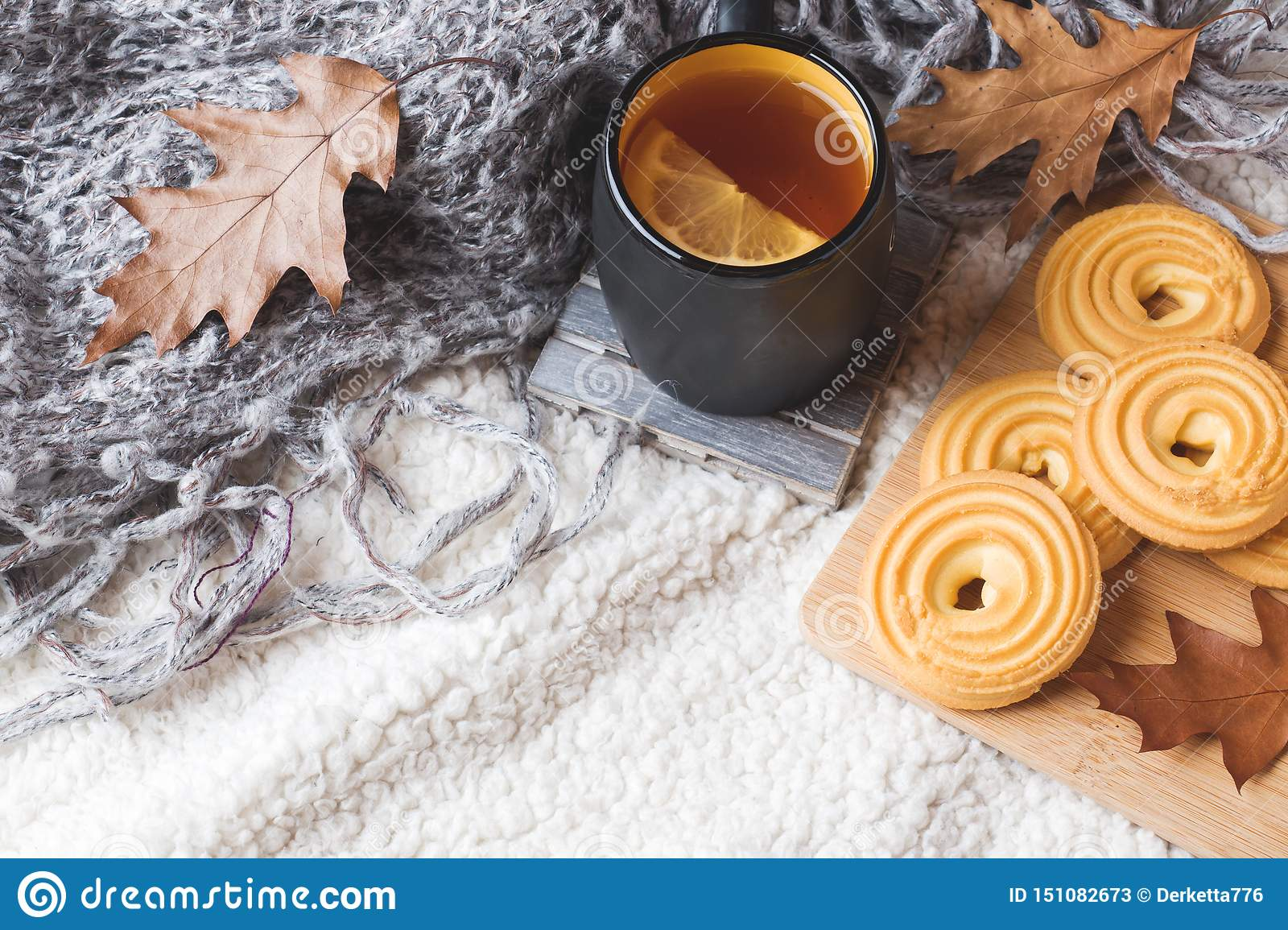 Autumn Still Life With Cup Of Tea Cookies Sweater And Leaves On A Warm Soft Blanket Concept Of Cozy Autumn Fall Season Stock Image Image Of Rustic Nature 151082673