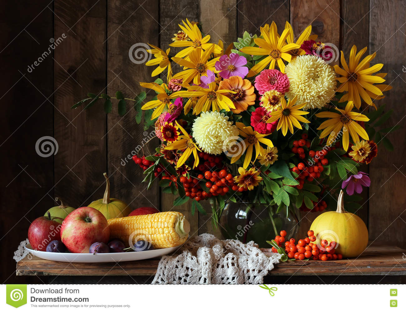 Autumn Still Life With Flowers And Fruit