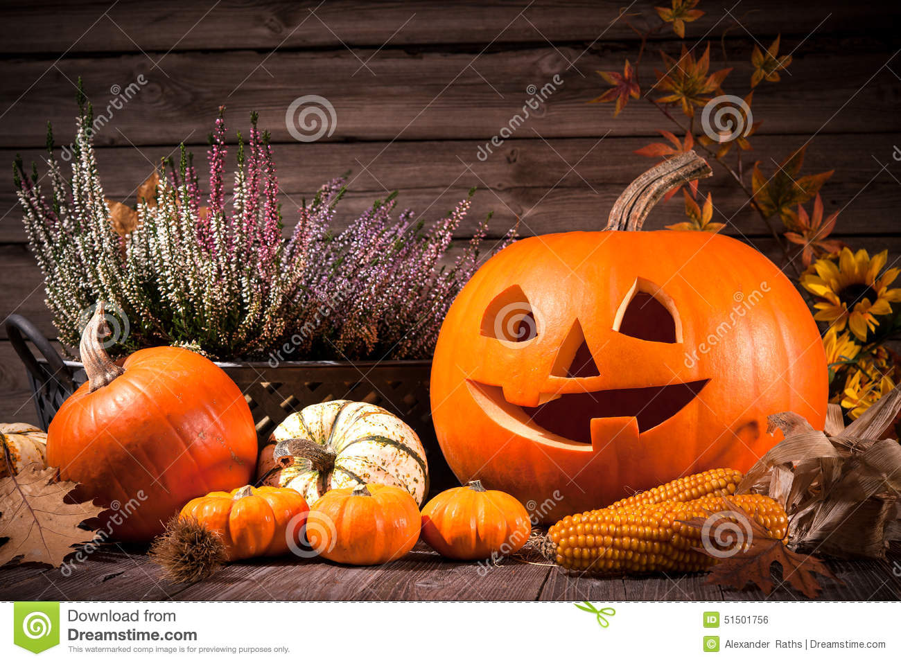 Autumn still life with Halloween pumpkins