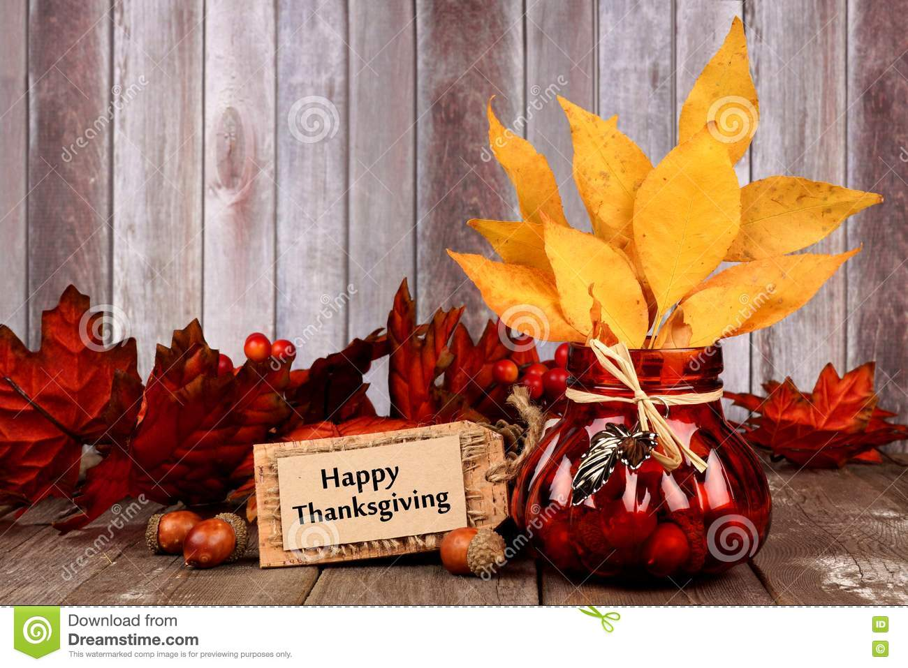 Download Autumn Still Life With Happy Thanksgiving Tag Leaves And Decor Stock Photo