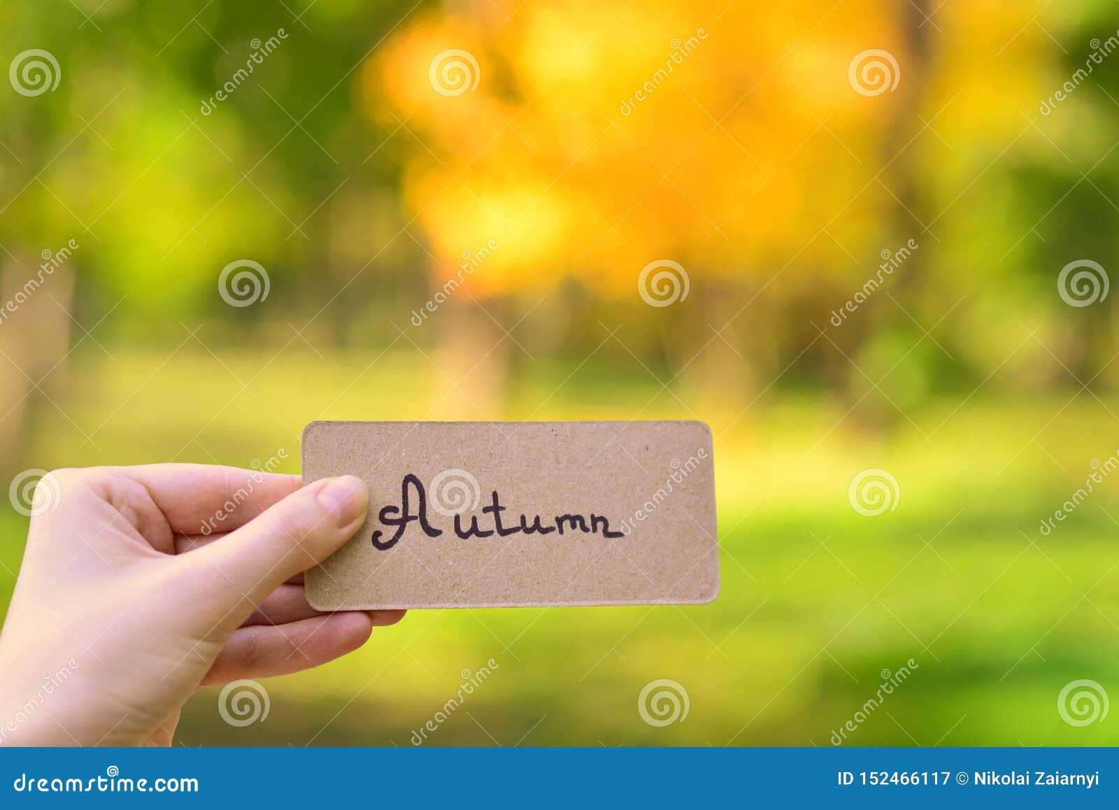 Autumn text on a card. Girl holding card in autumn park in sunny rays