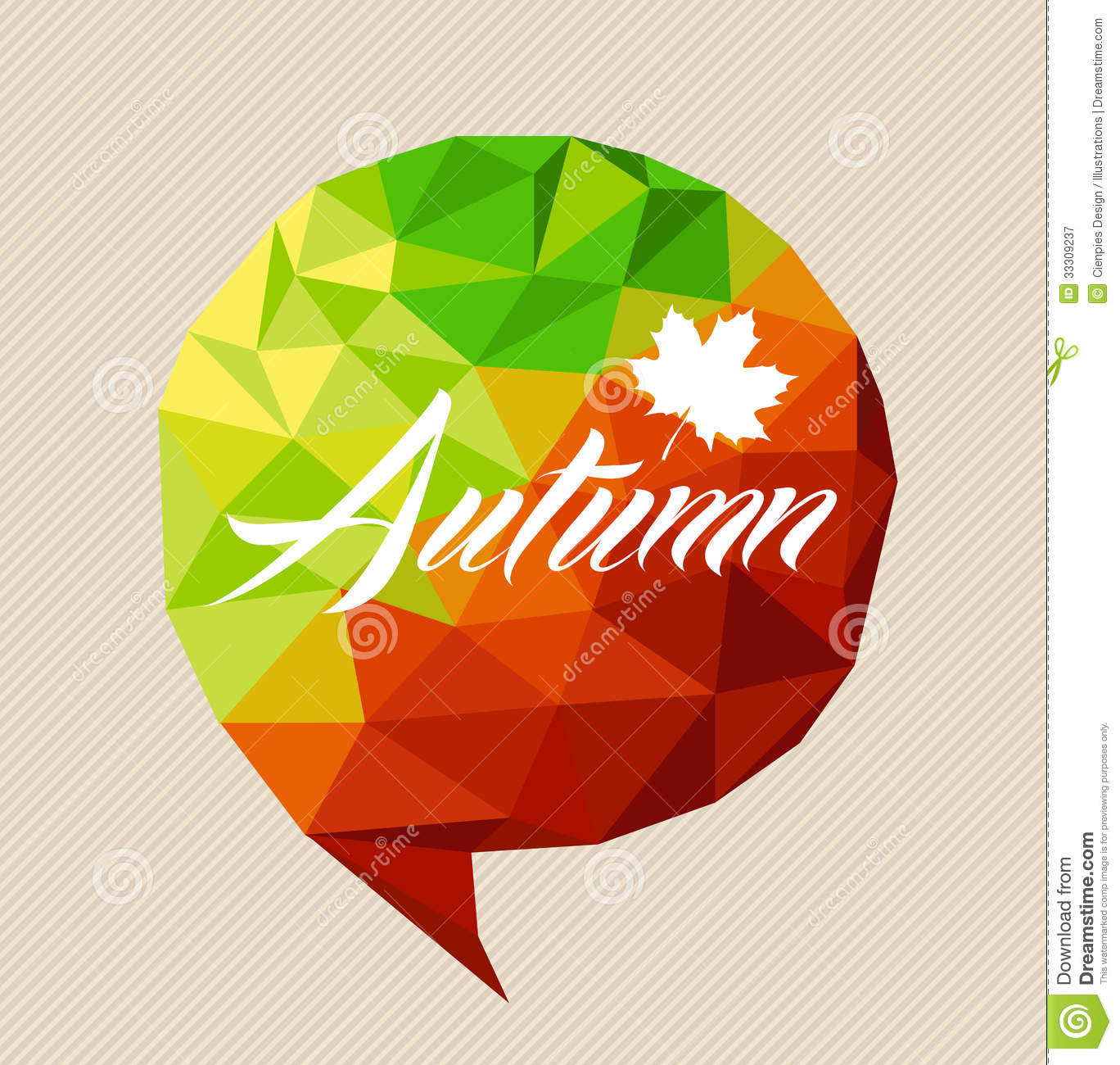 Autumn Text Fall Leaf Social Bubble Shape Eps10 File