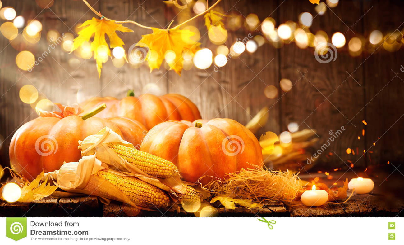 autumn thanksgiving pumpkins over wooden background stock