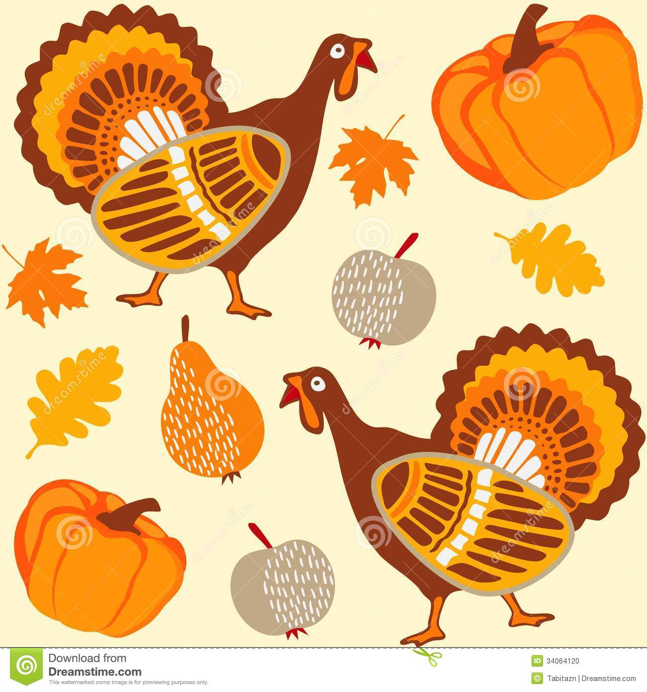 Thanksgiving Seamless Background With Turkey Stock Photo - Image ...