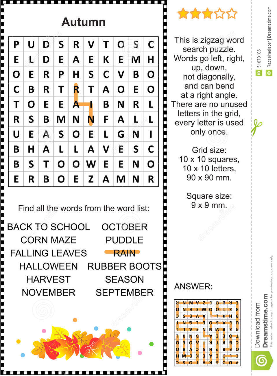 Autumn Themed Wordsearch Puzzle Stock Vector - Image: 51670186