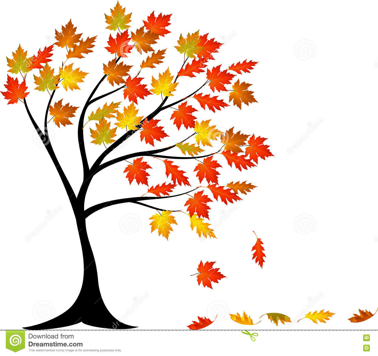 Autumn Tree Cartoon Stock Vector - Image: 77943860 Cartoon Fall Tree With Branches