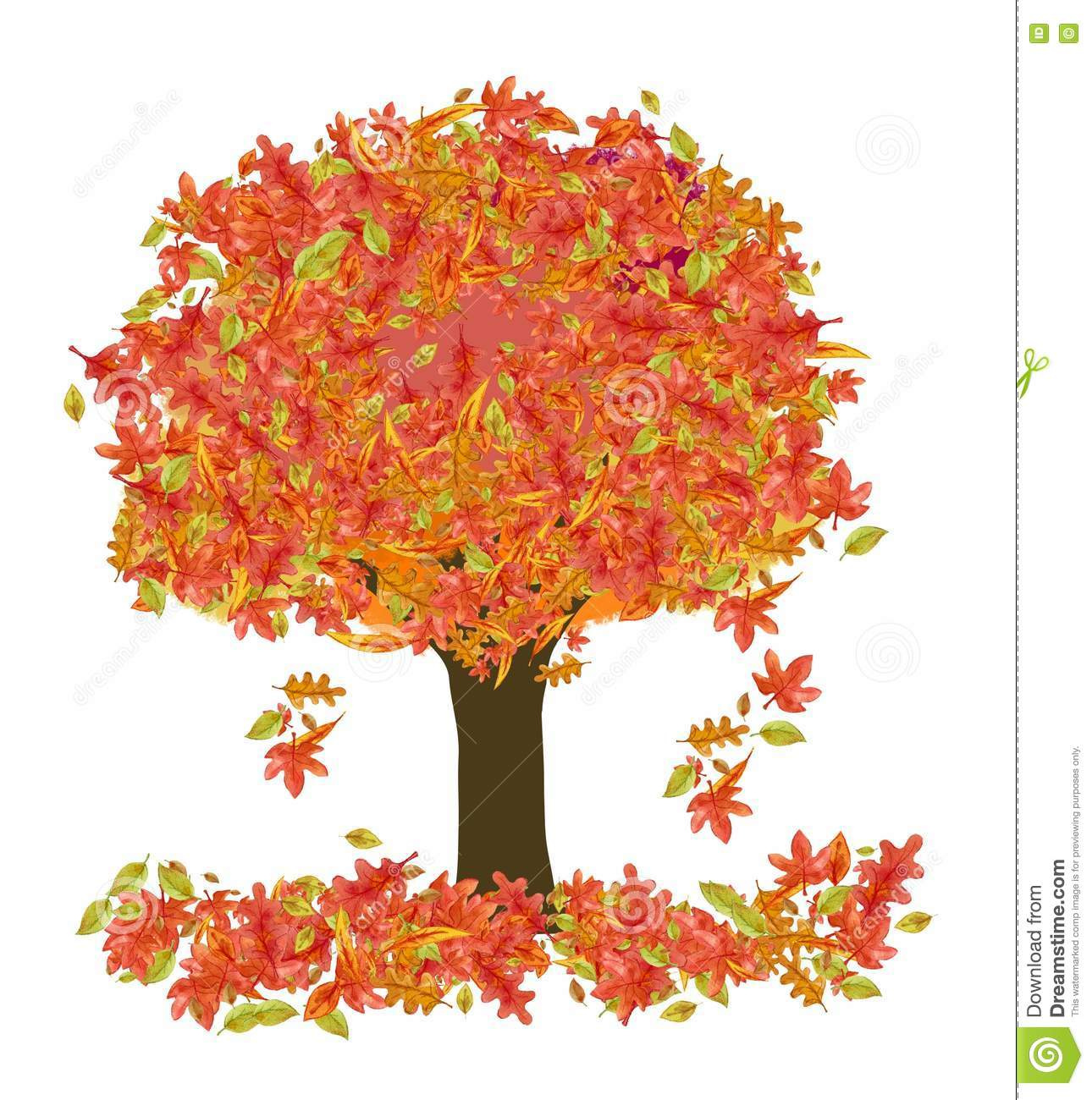 Autumn Tree stock illustration. Illustration of yellow - 77023235 for Fall Tree Drawing  45ifm