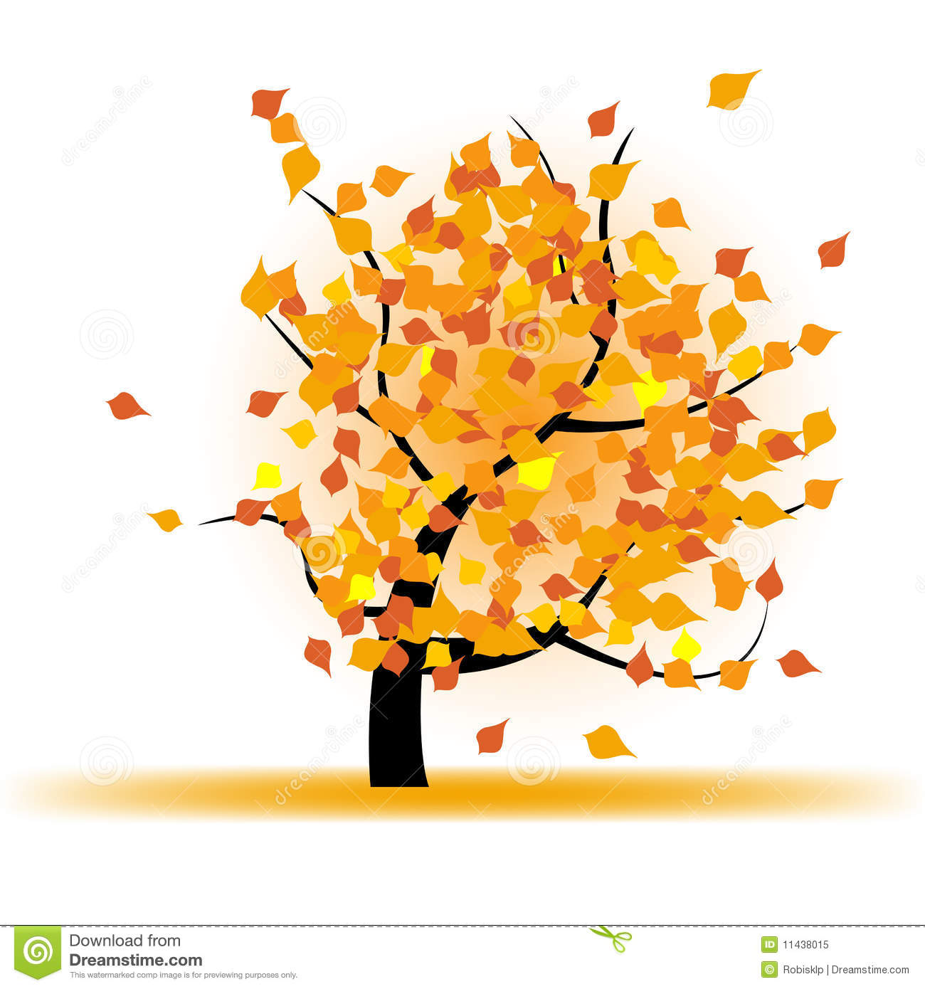 Autumn Tree With Falling Leaves Royalty Free Stock Photo - Image ...