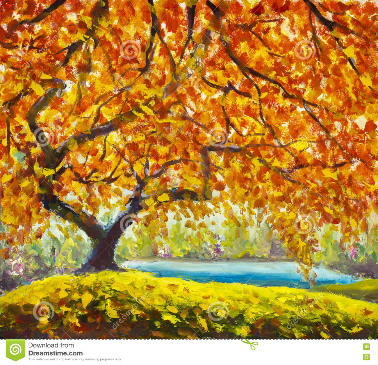 Autumn tree near water oil painting autumn landscape for Autumn tree painting