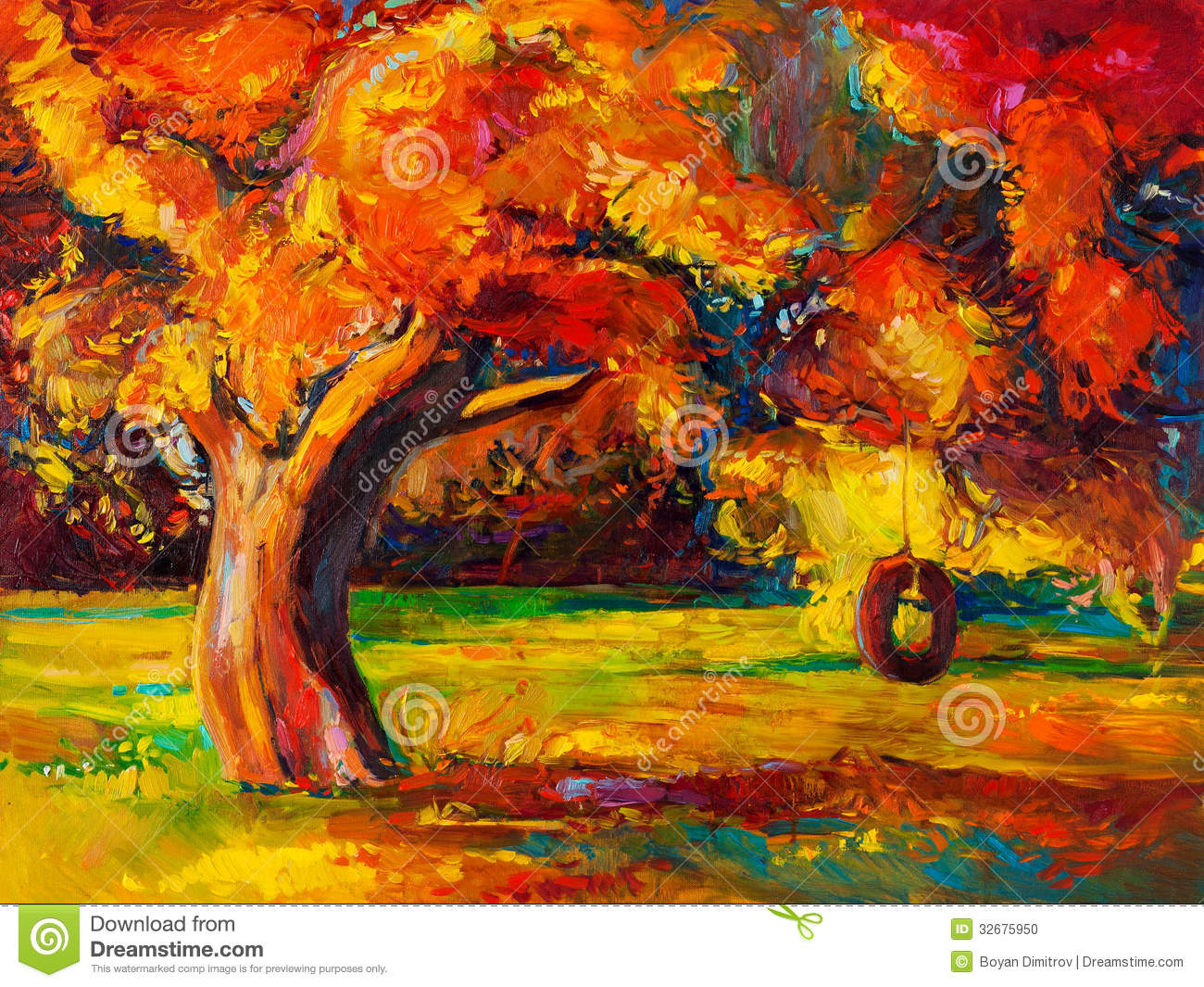 Autumn tree stock illustration illustration of artwork for Autumn tree painting