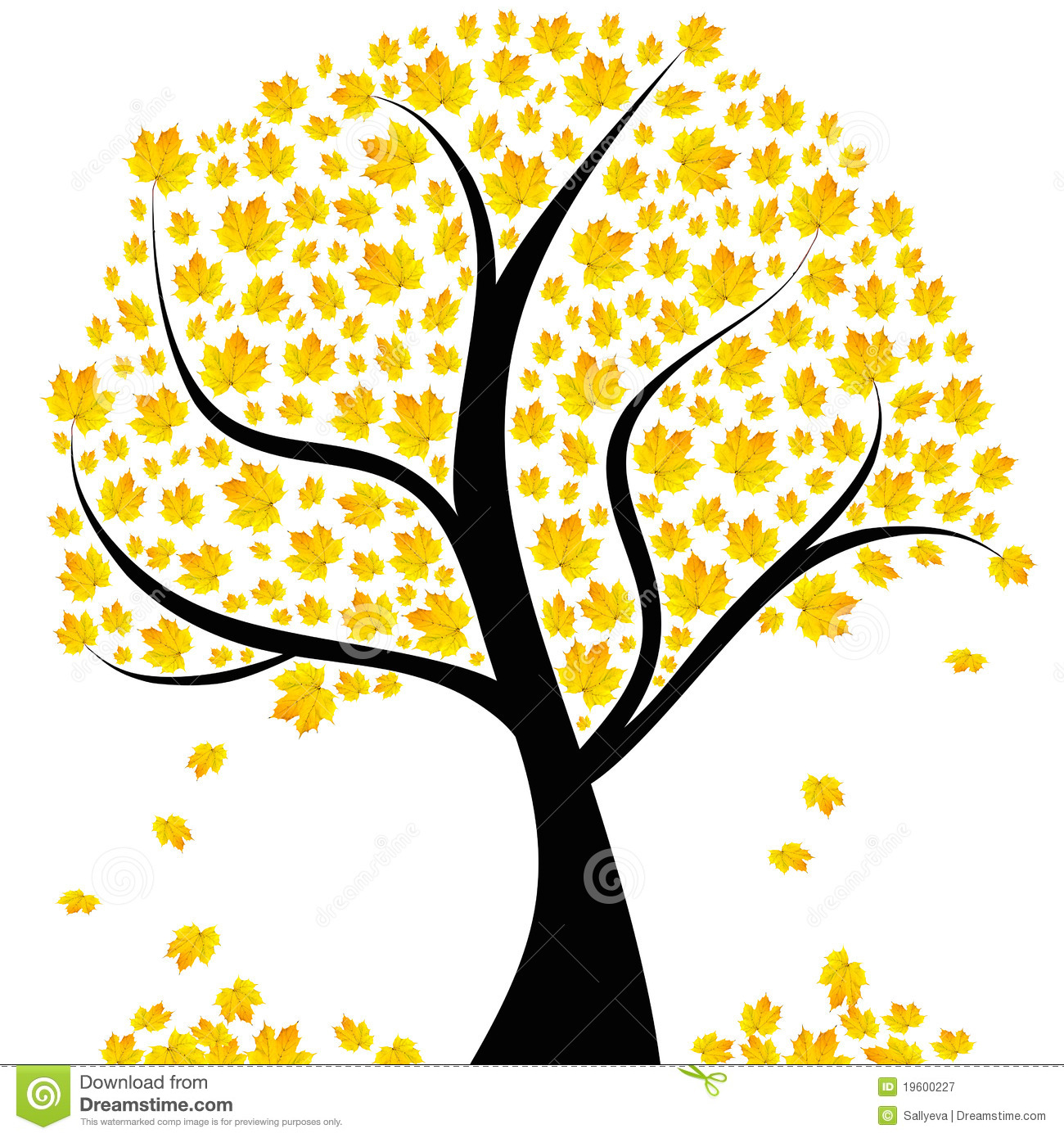 Autumn Tree With Yellow Leaves Royalty Free Stock Photography - Image ...
