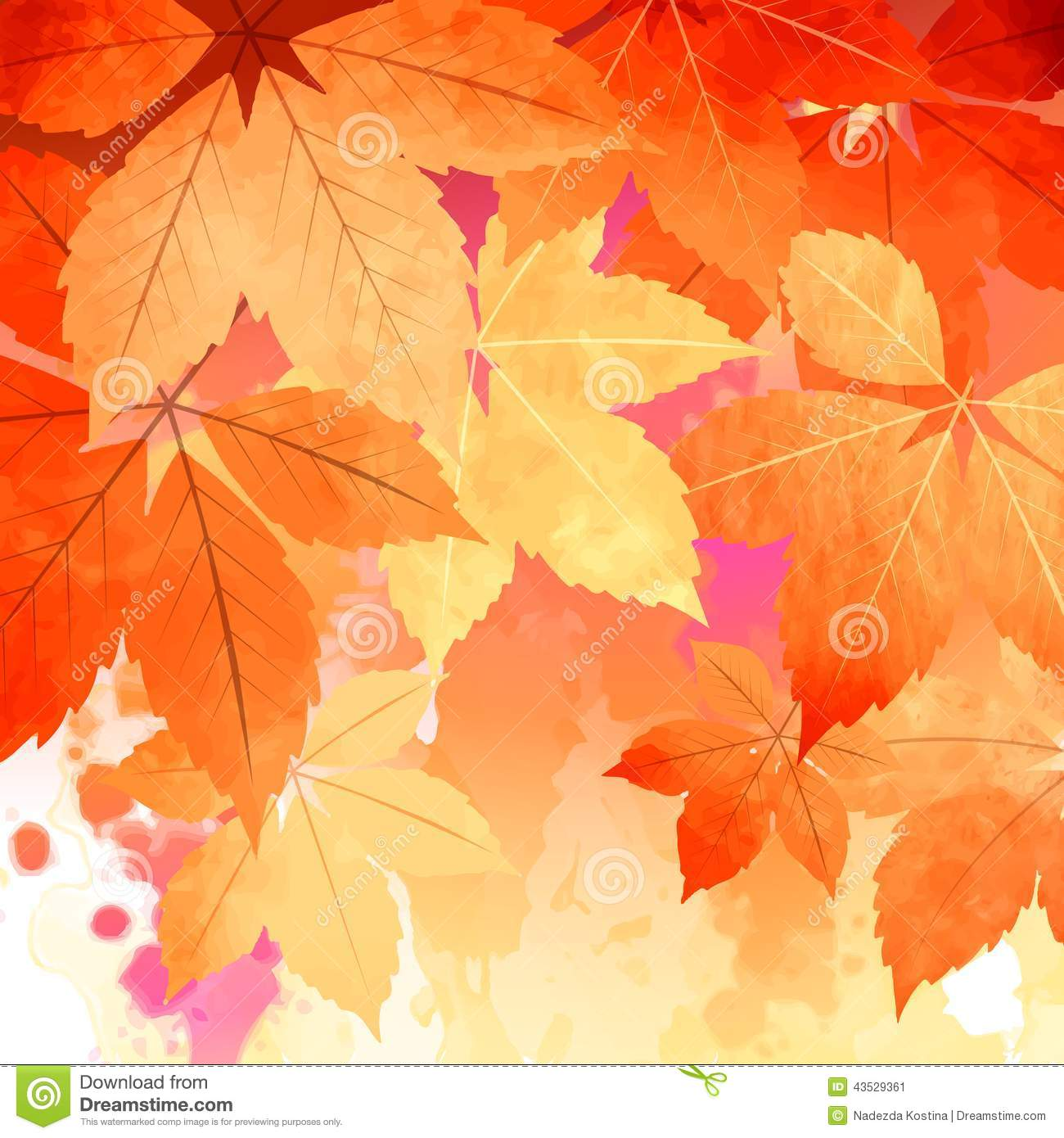 Autumn Vector Watercolor Fall Leaves Stock Vector