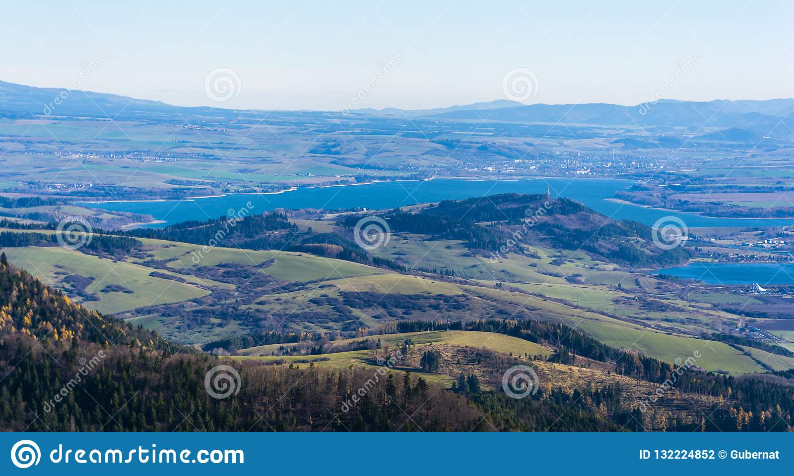 Autumn view of the lake Liptovska Mara and the town Liptovsky Mikulas in northern Slovakia