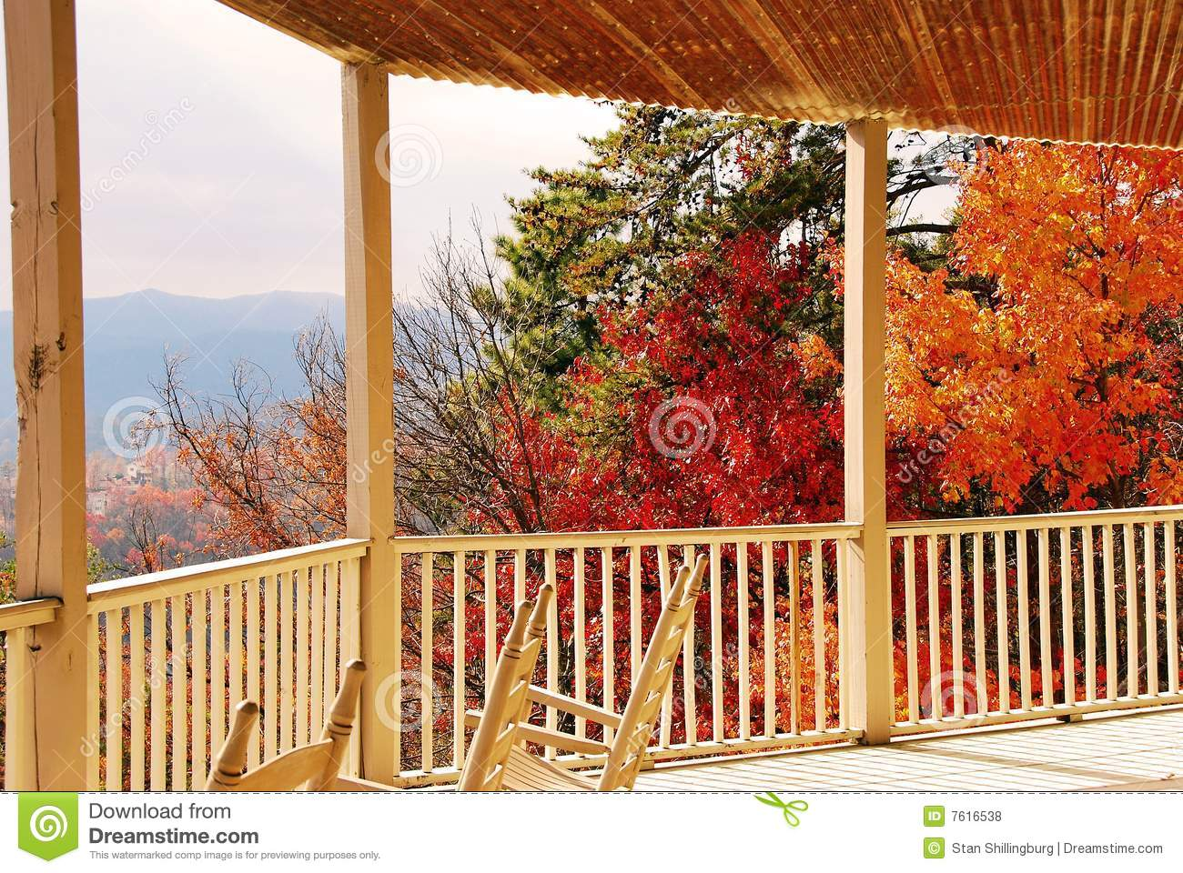 Autumn View From Porch Stock Photo Image Of Shadow Posts