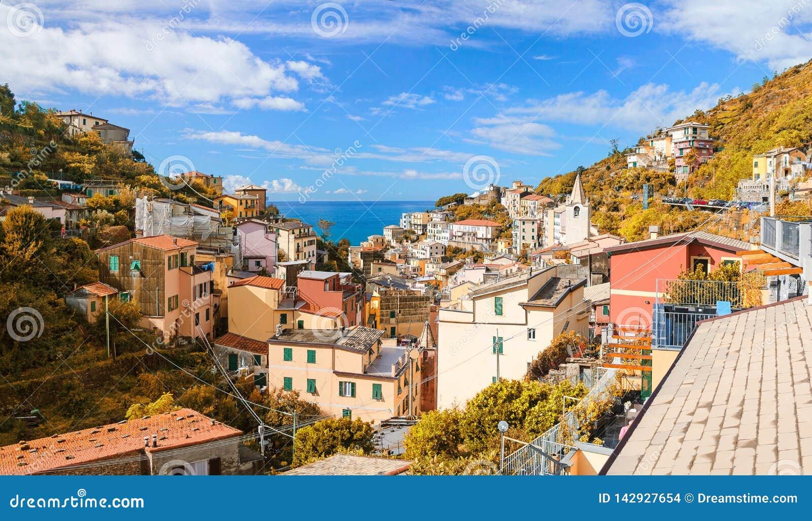 Autumn view of Riomaggiore town