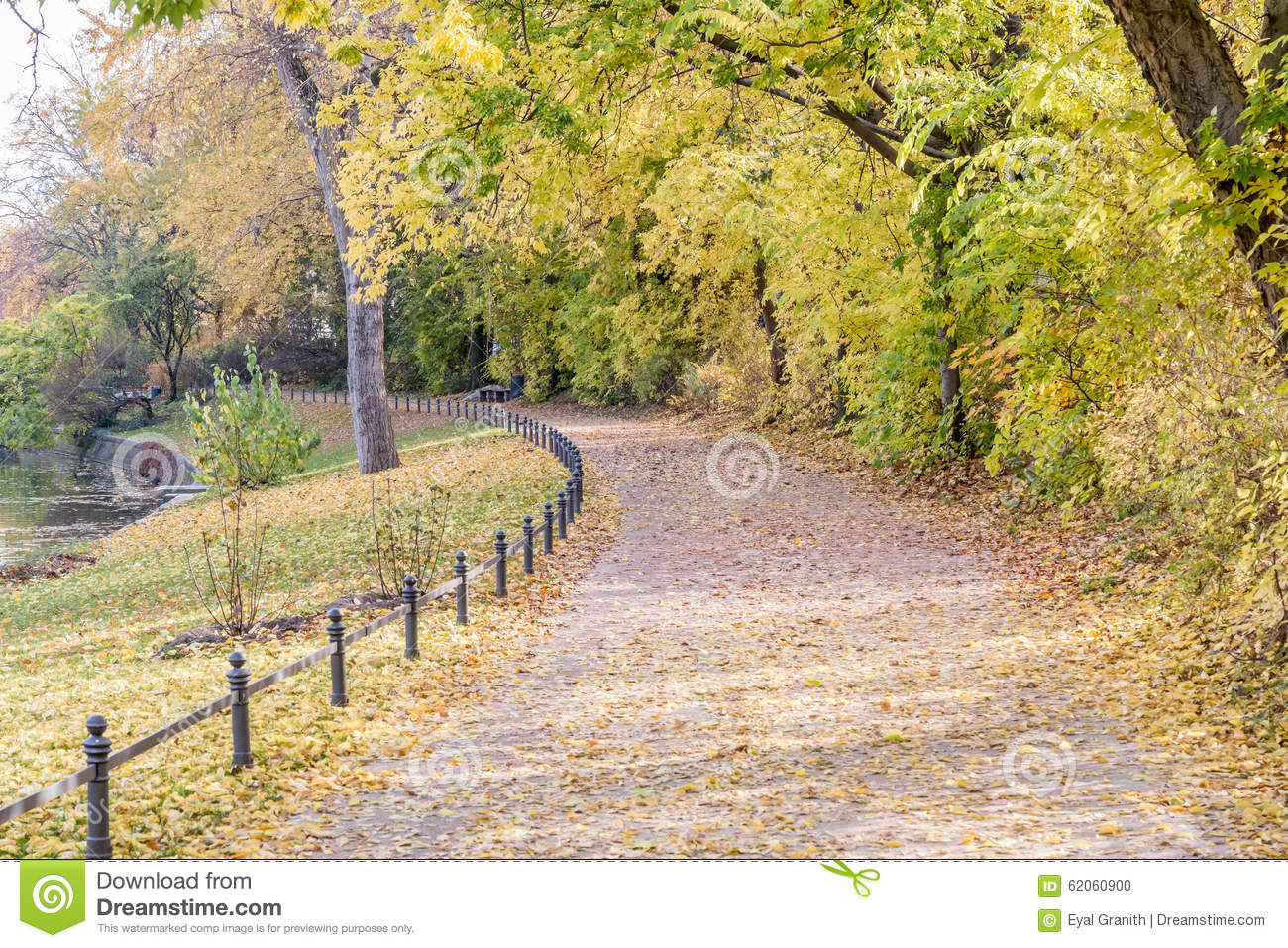 Autumn view of trail on the riverside