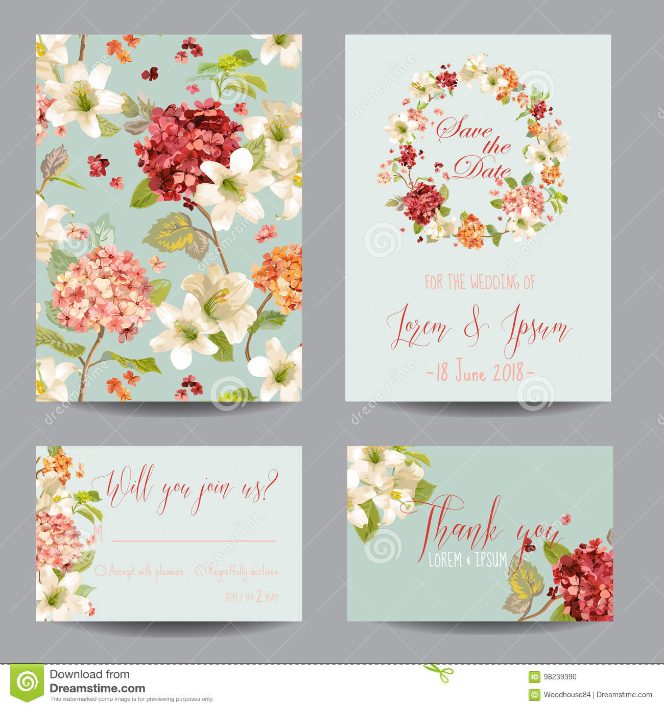 Autumn Vintage Hortensia Flowers Save the Date Card for Wedding, Invitation, Party