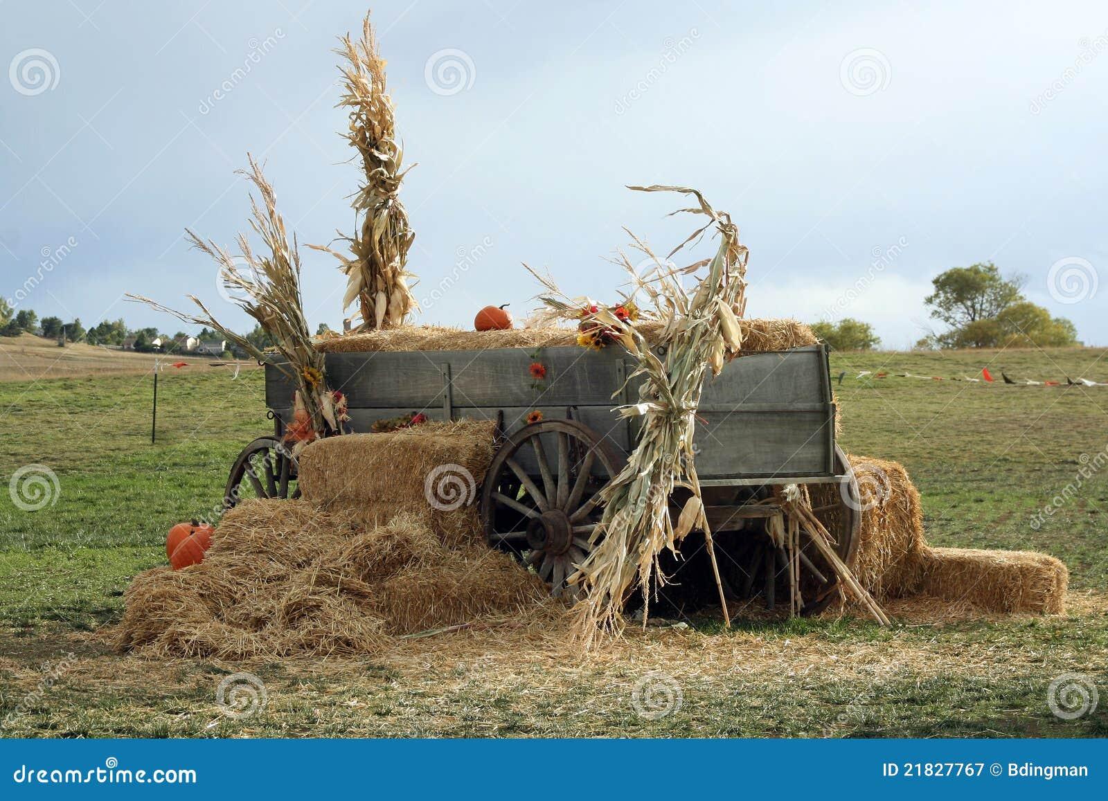 Autumn Wagon Stock Image Image Of Stalks Halloween 21827767