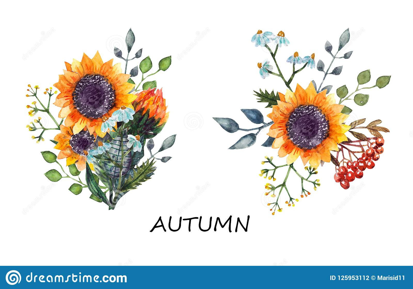 Sunflowers bouquet watercolor