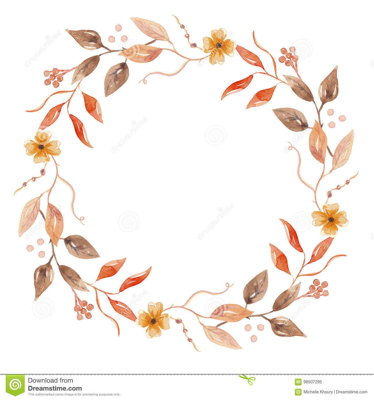Autumn Watercolor Fall Flower Hand Painted Garland Floral ...