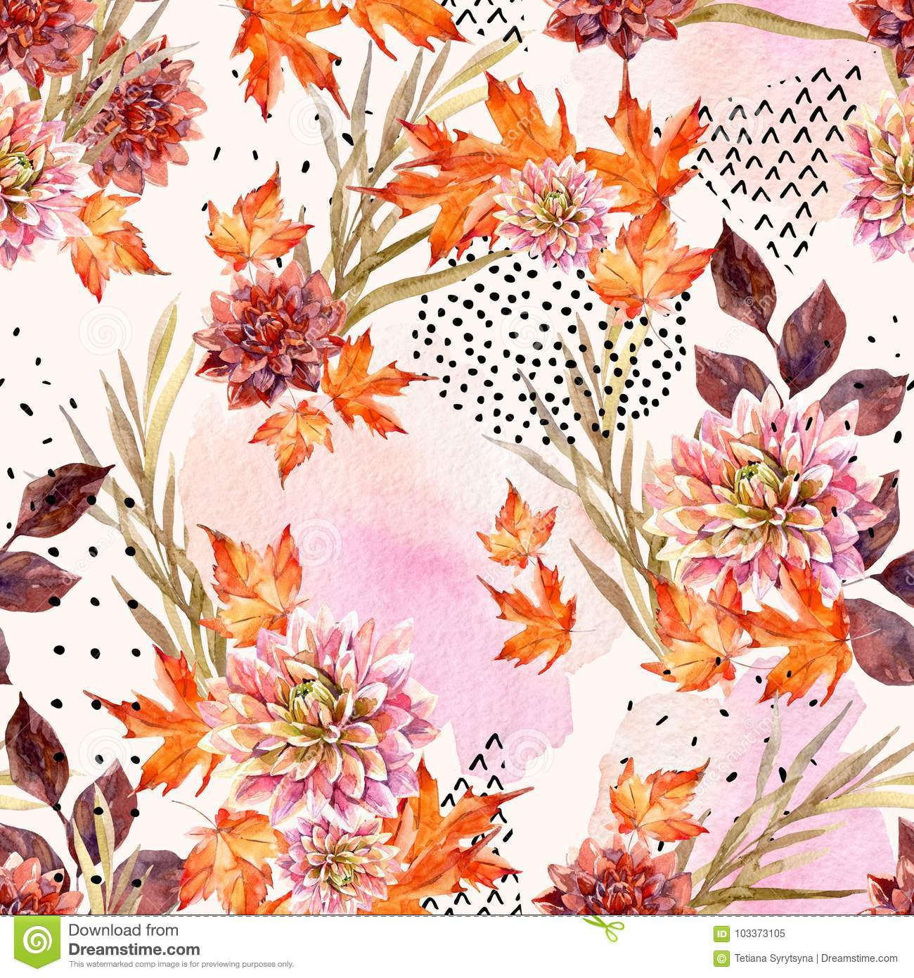 Autumn Watercolor Floral Seamless Pattern Stock Illustration