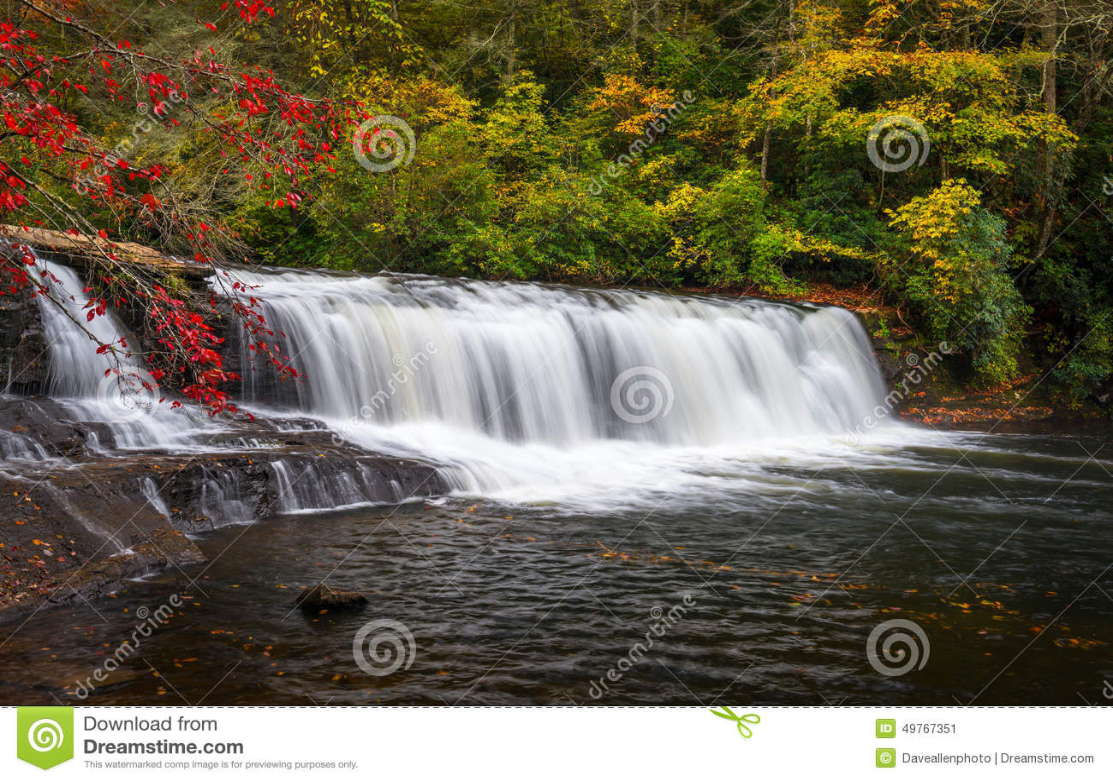 Autumn Waterfall Landscape North Carolina Blue Ridge Mountains