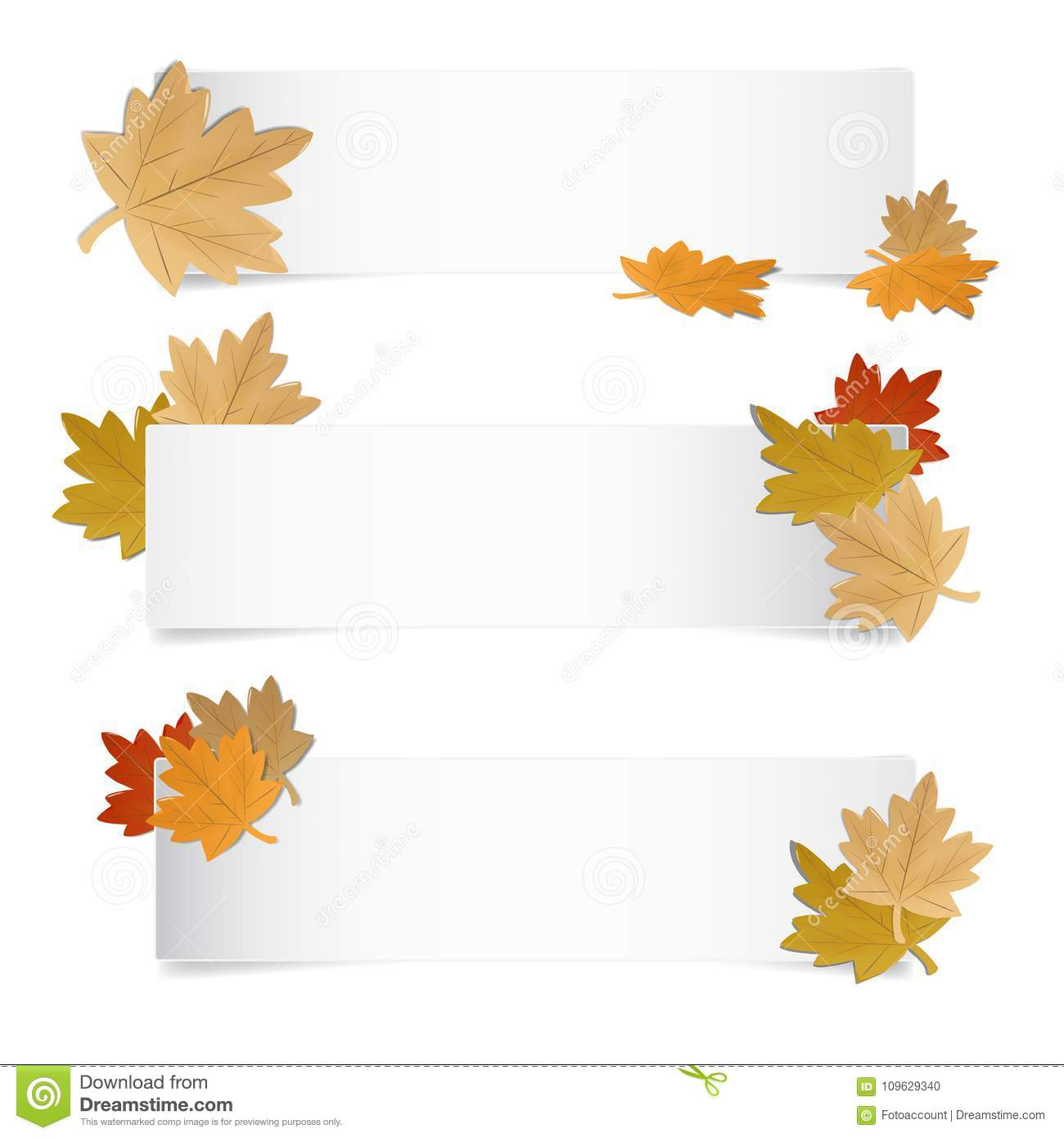 Autumn Web Banner With Colorful differente Leafes