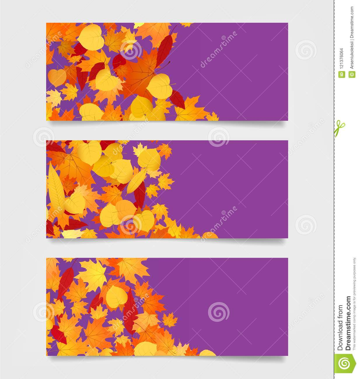 Autumn Web Banners For Sites. Moders Promotional Frames Template ...