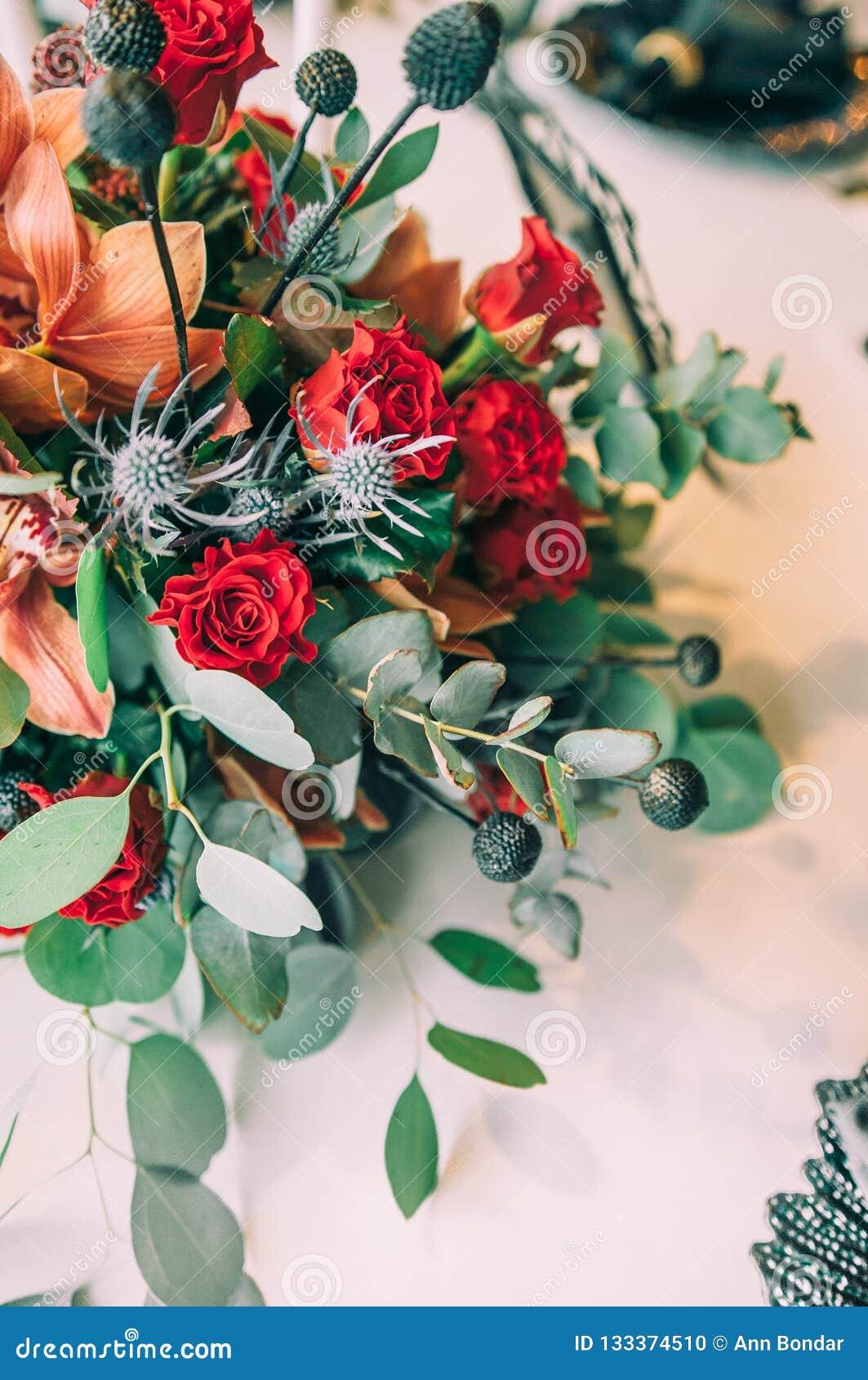 Autumn Wedding Decoration And Wedding Bouquet Stock Photo Image