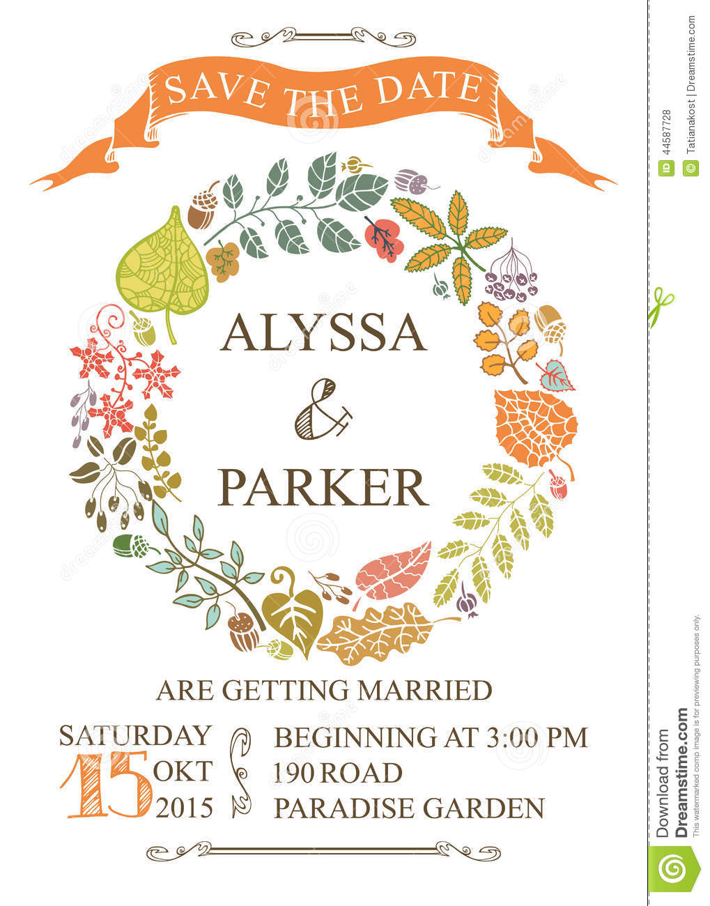 Autumn wedding save date card with leaves wreath stock for Free vintage save the date templates