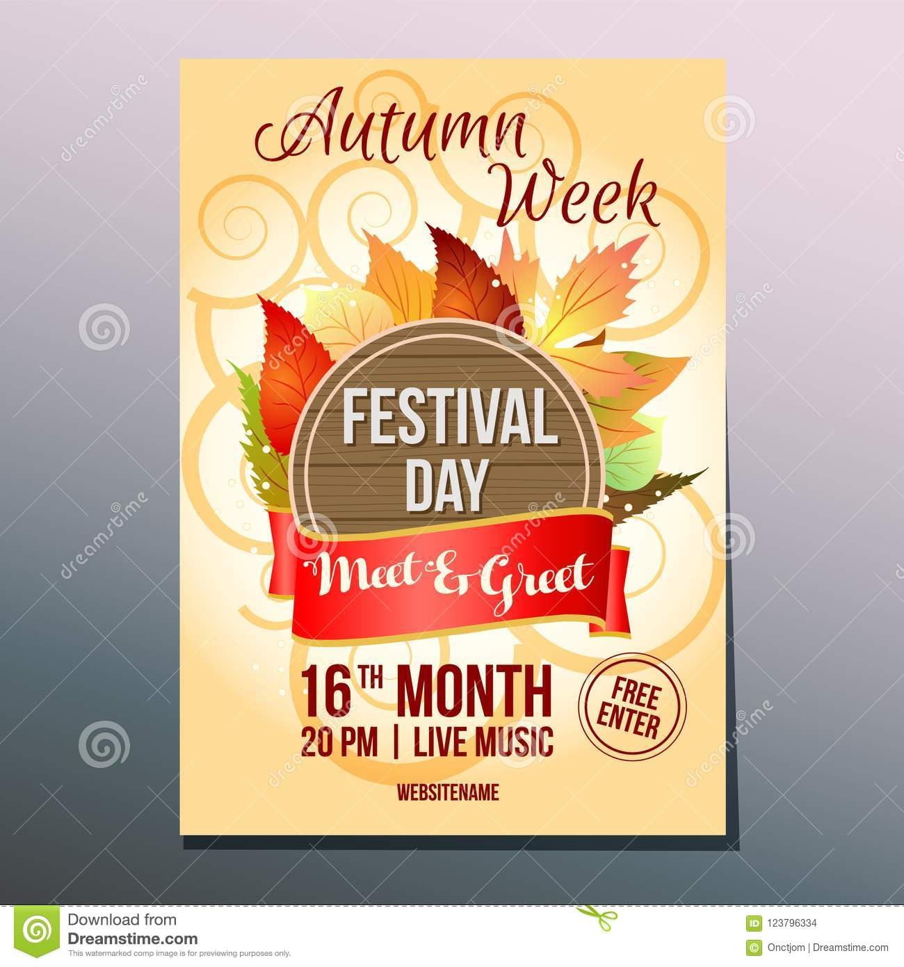 Autumn Week Festival Day Poster Meet And Greet Stock Vector