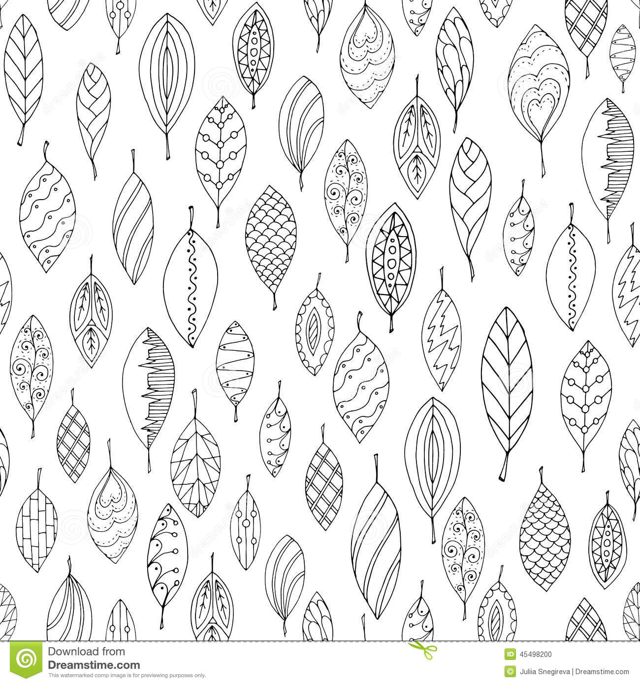autumn white black seamless stylized leaf pattern doodle style decorative template texture leaves used clipping 45498200