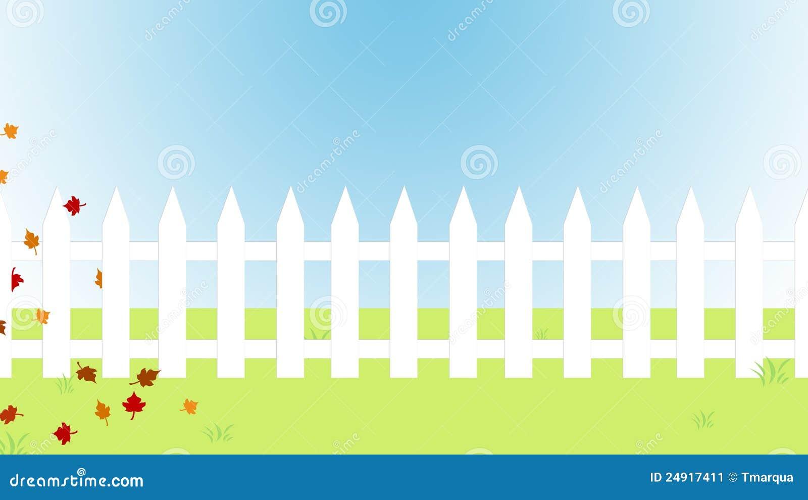 Autumn White Picket Fence Stock Illustration Image Of
