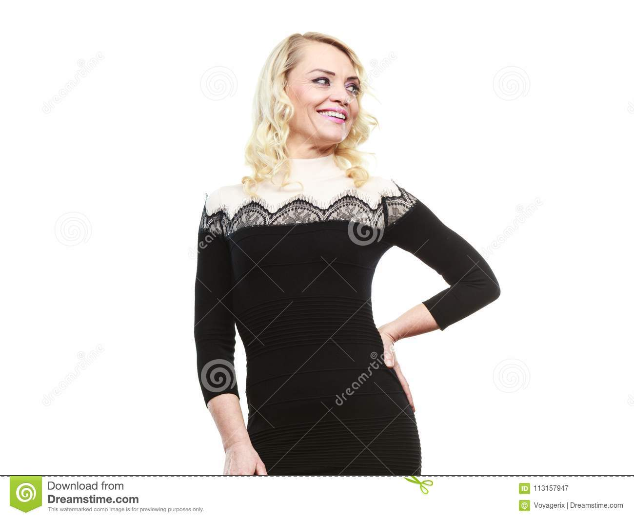 Mid Aged Woman In Stylish Black Dress Stock Image Image of slim