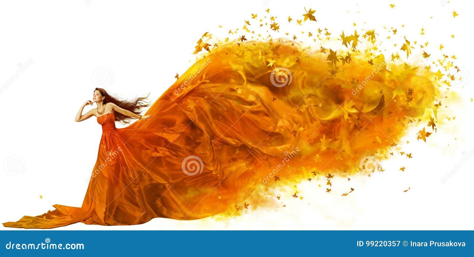 Autumn Woman Art, Fashion Model Fall Leaves Dress, Long Fabric