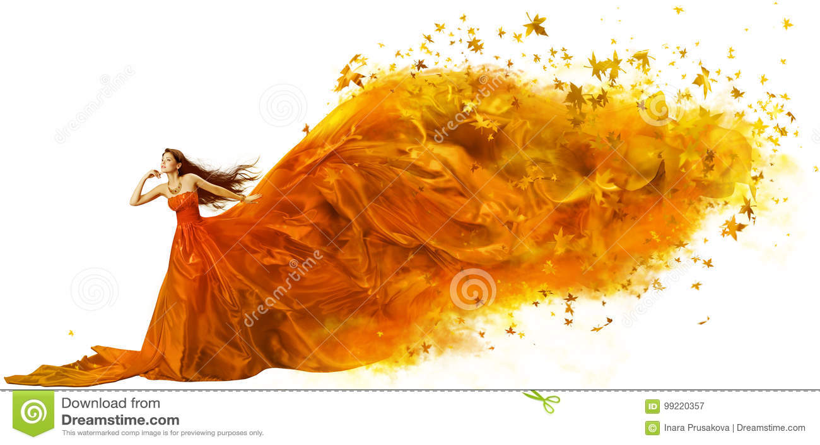 Autumn Woman Art, Mannequin Fall Leaves Dress, Lange Stof