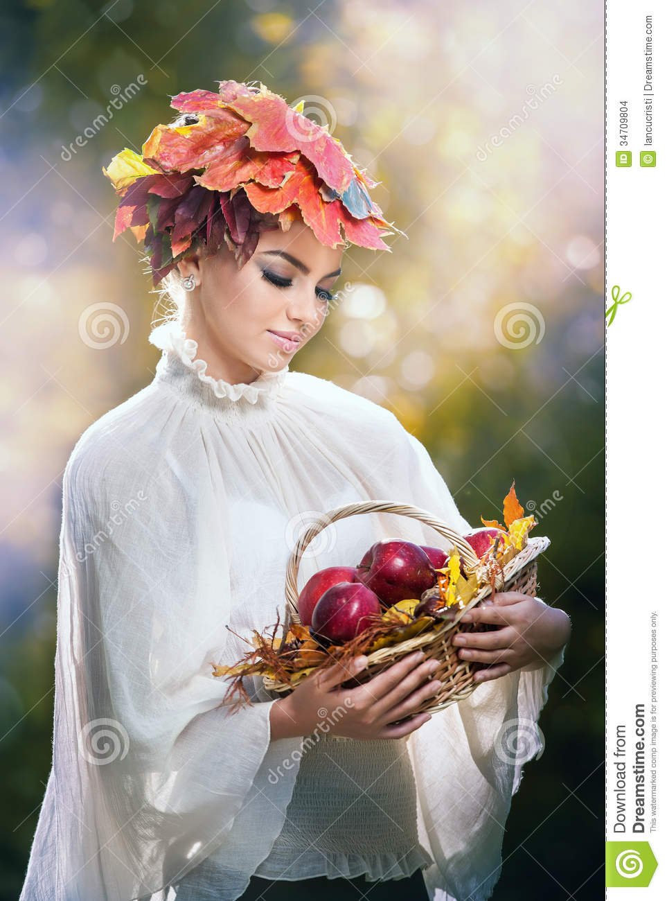 Autumn Woman. Beautiful Creative Makeup And Hair Style In