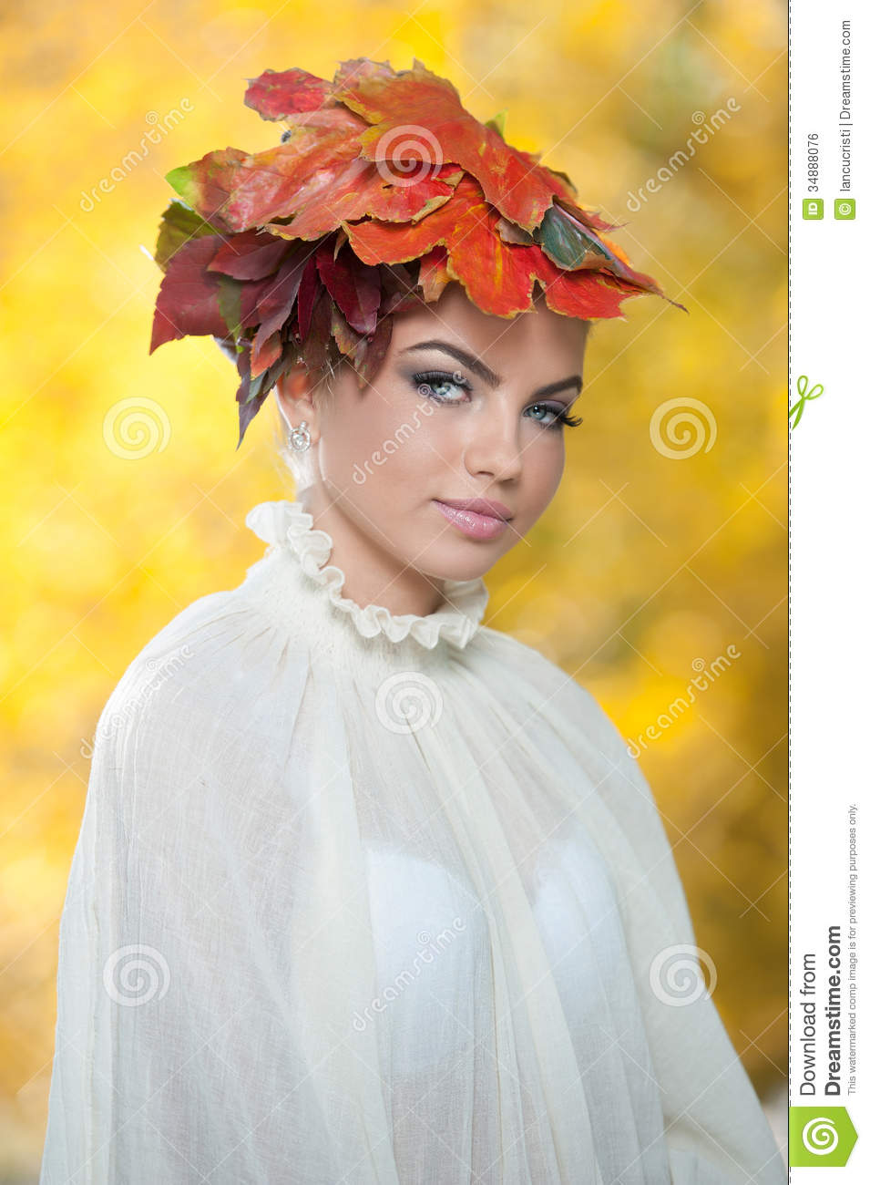 Autumn Woman Beautiful Creative Makeup And Hair Style In
