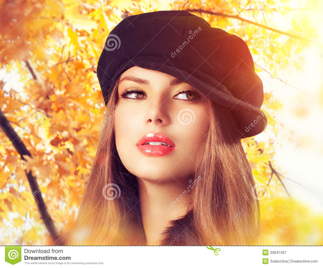 Autumn Woman in a Beret