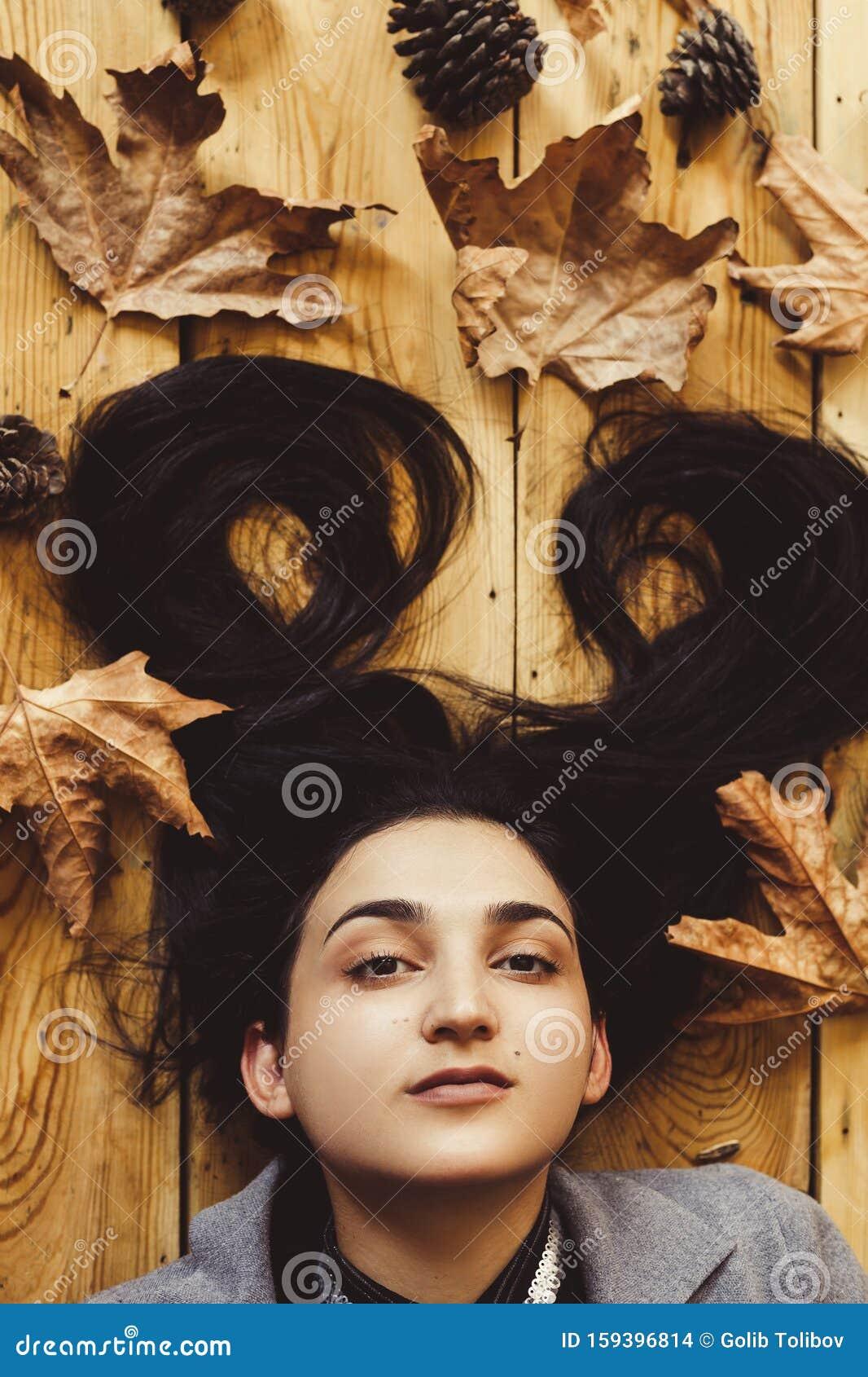 Autumn Woman. Fall Season Concept. A Portrait Of Lying On ...
