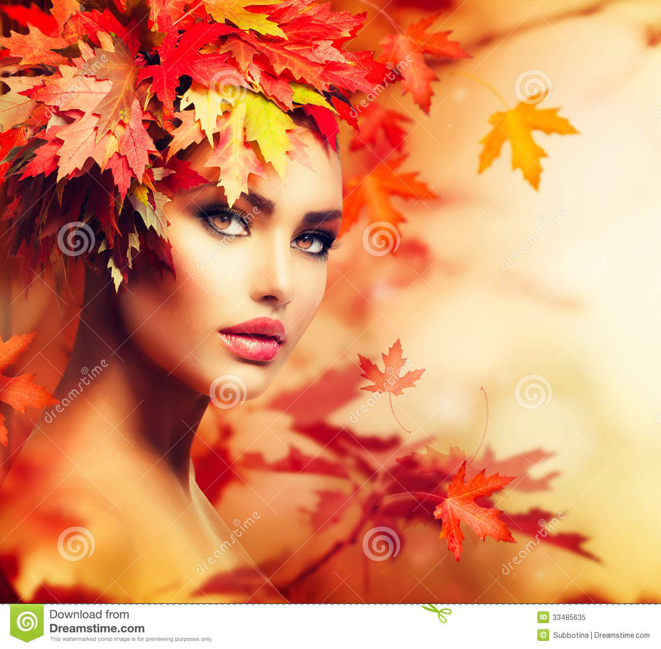 Autumn Woman Portrait Stock Image. Image Of Leaves, Look