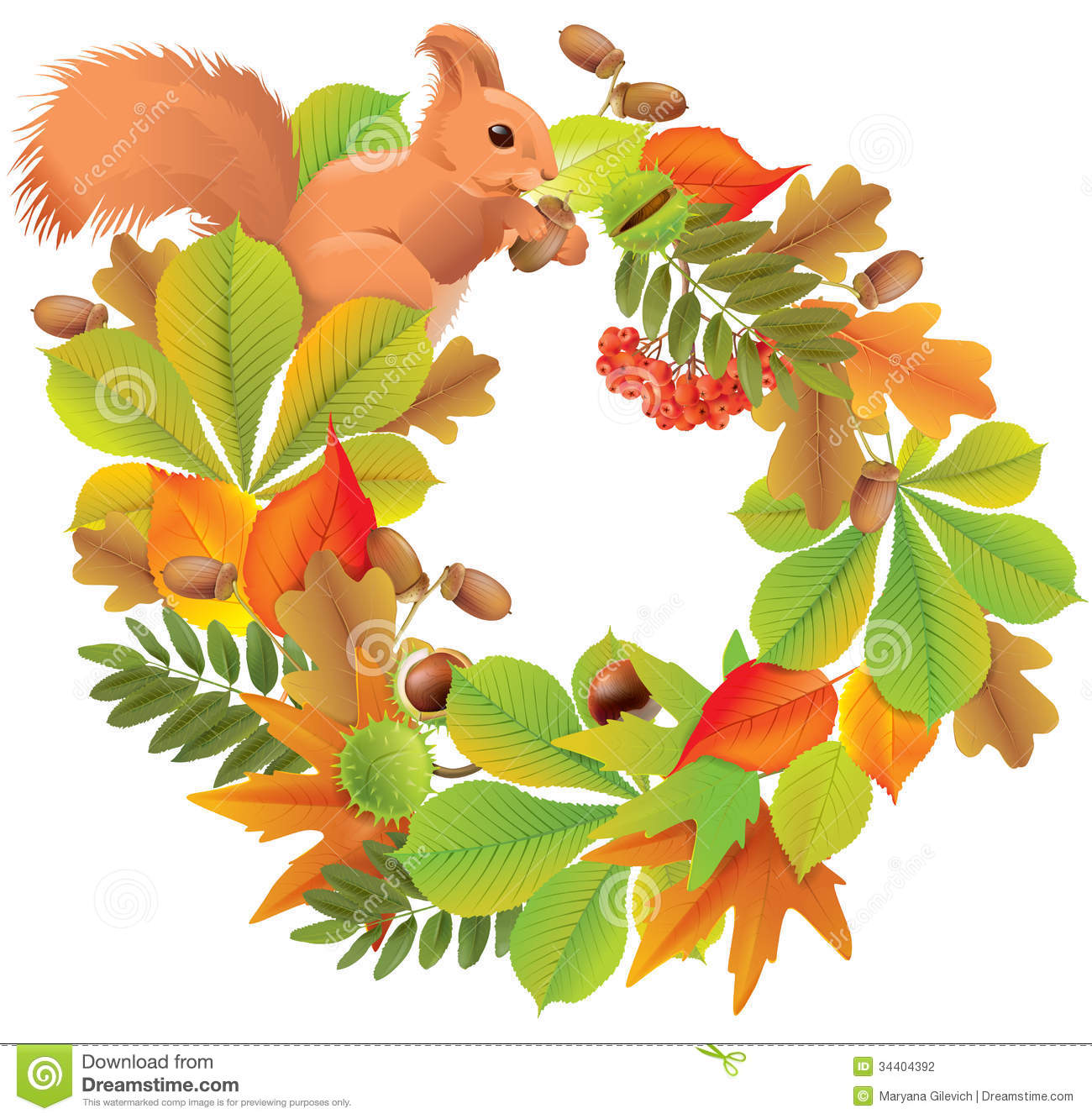 Autumn Wreath With Squirrel Stock Photography - Image: 34404392