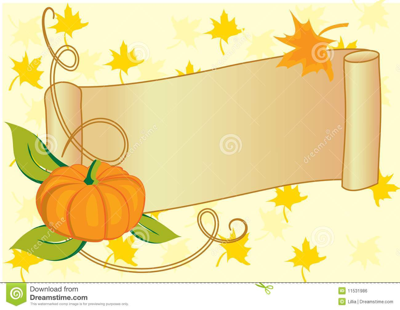 Autumnal Banner With Pumpkin For Thanksgiving Day Royalty Free ...
