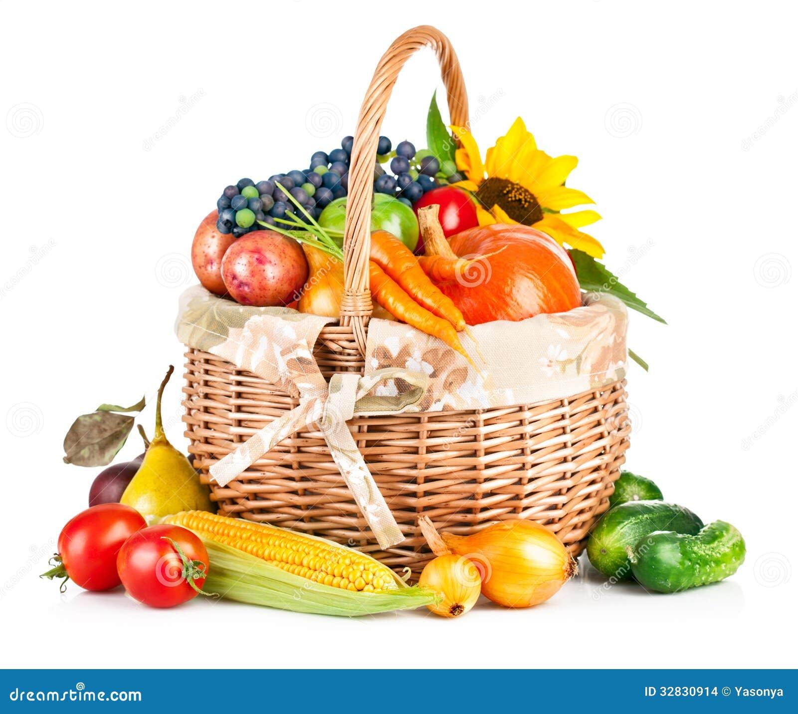 autumnal harvest vegetables and fruits in basket stock Plum Clip Art Basket of Fruits and Vegetables