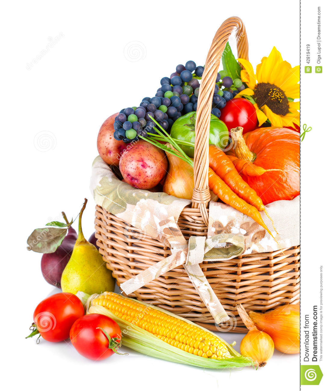 Autumnal Harvest Vegetables And Fruits In Basket Stock ...