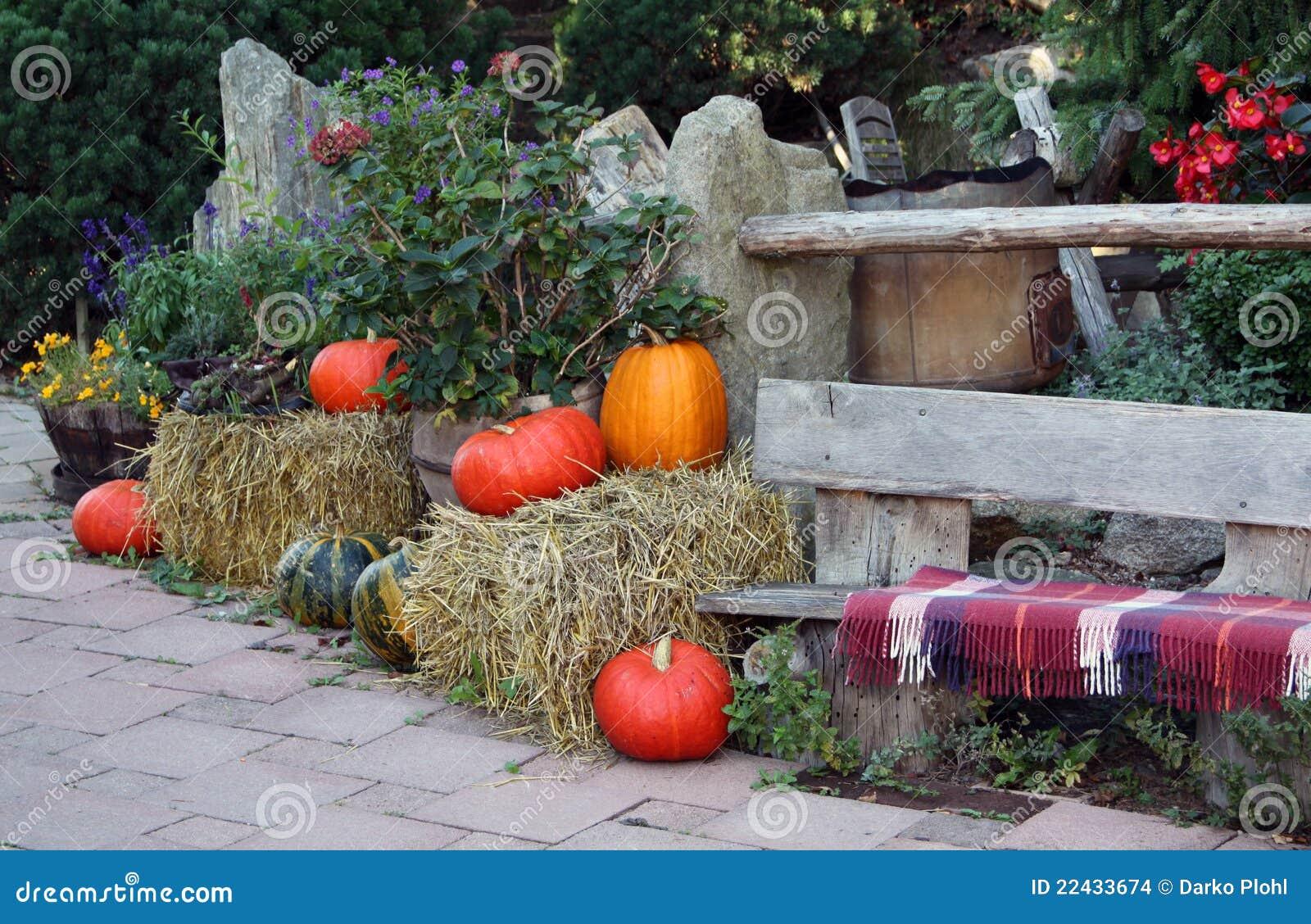 Autunno sul terrazzo del giardino ornamentale immagini - Terrazzo giardino ...