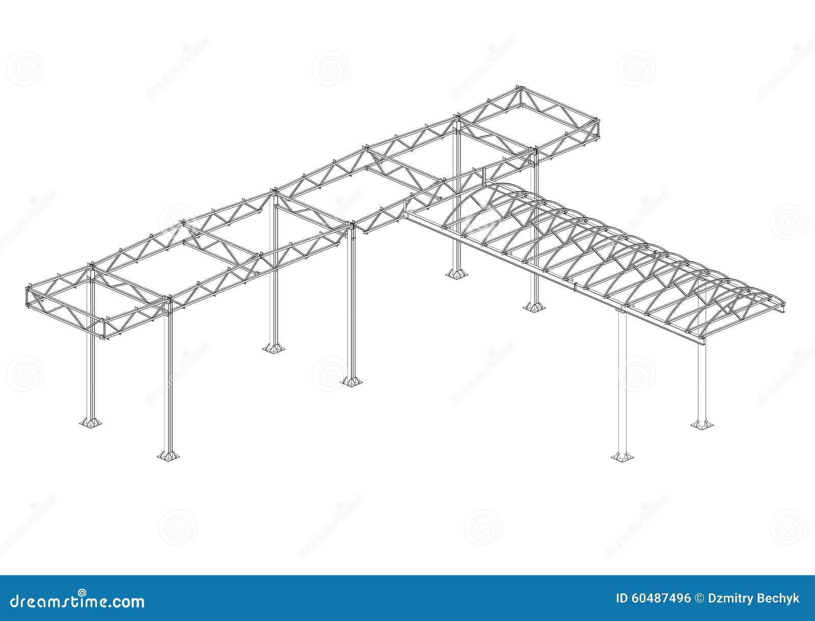 auvent des structures m u00e9talliques illustration stock