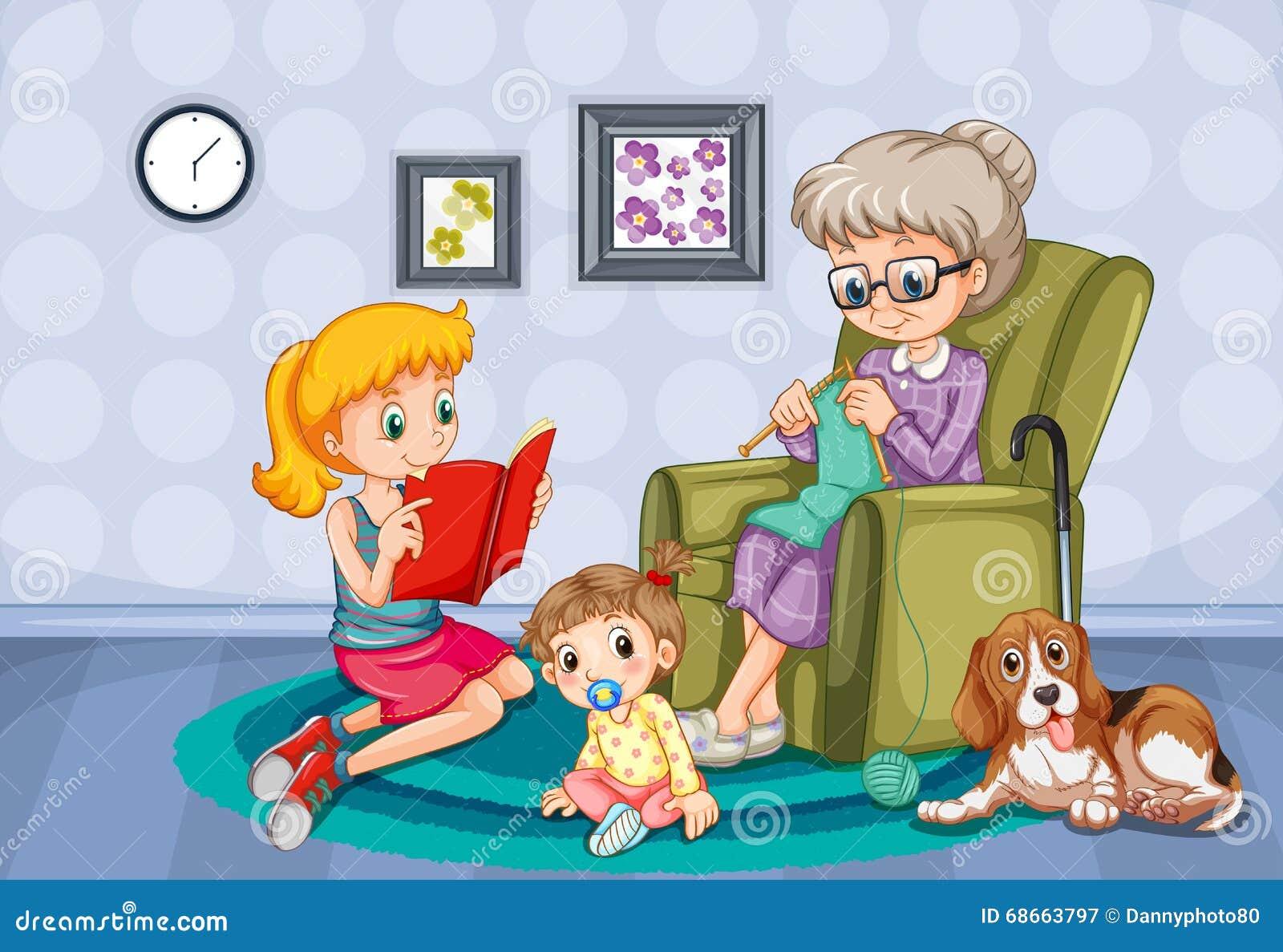 Avó e crianças na sala