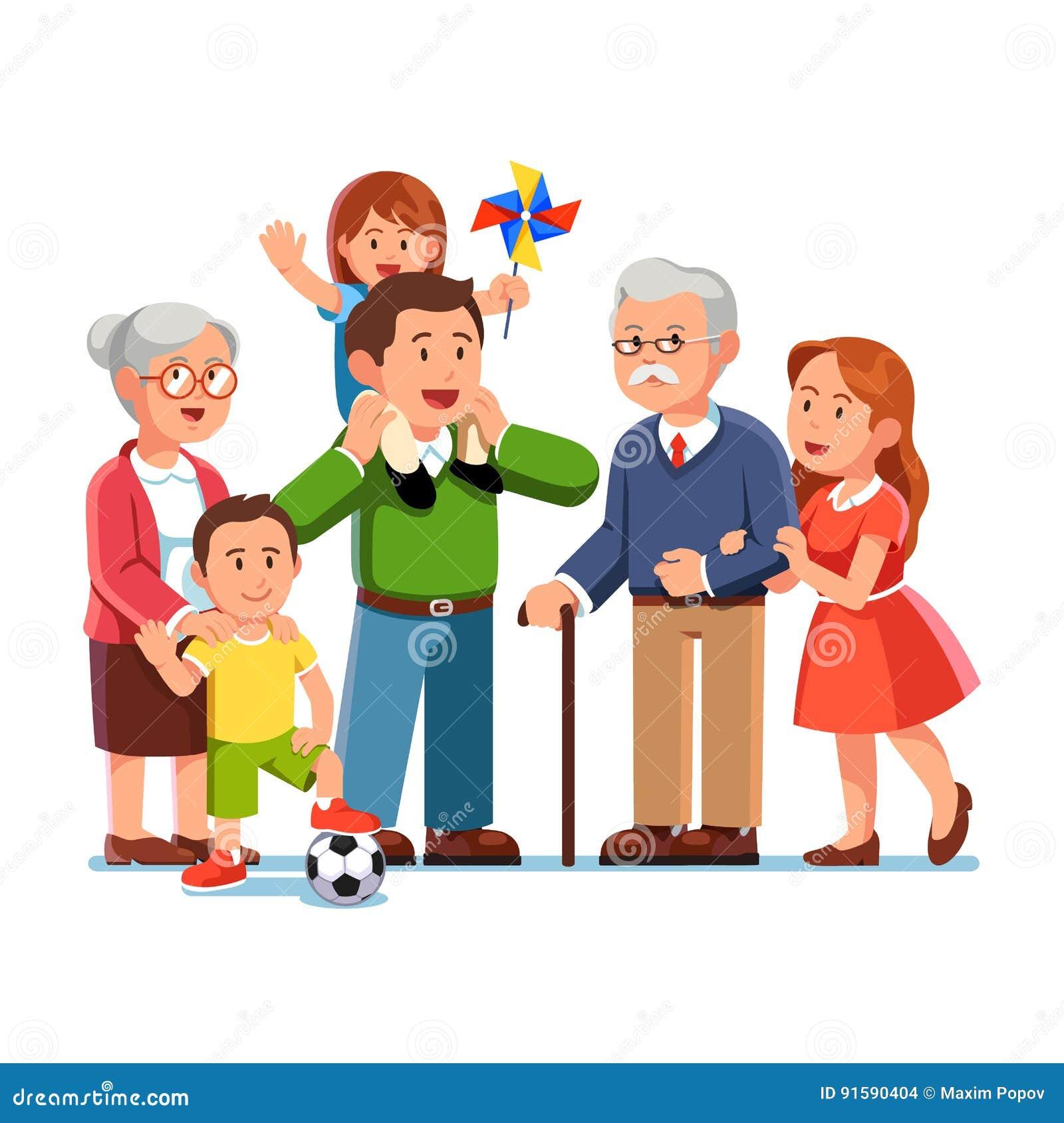 Avós, pais, crianças que estão junto